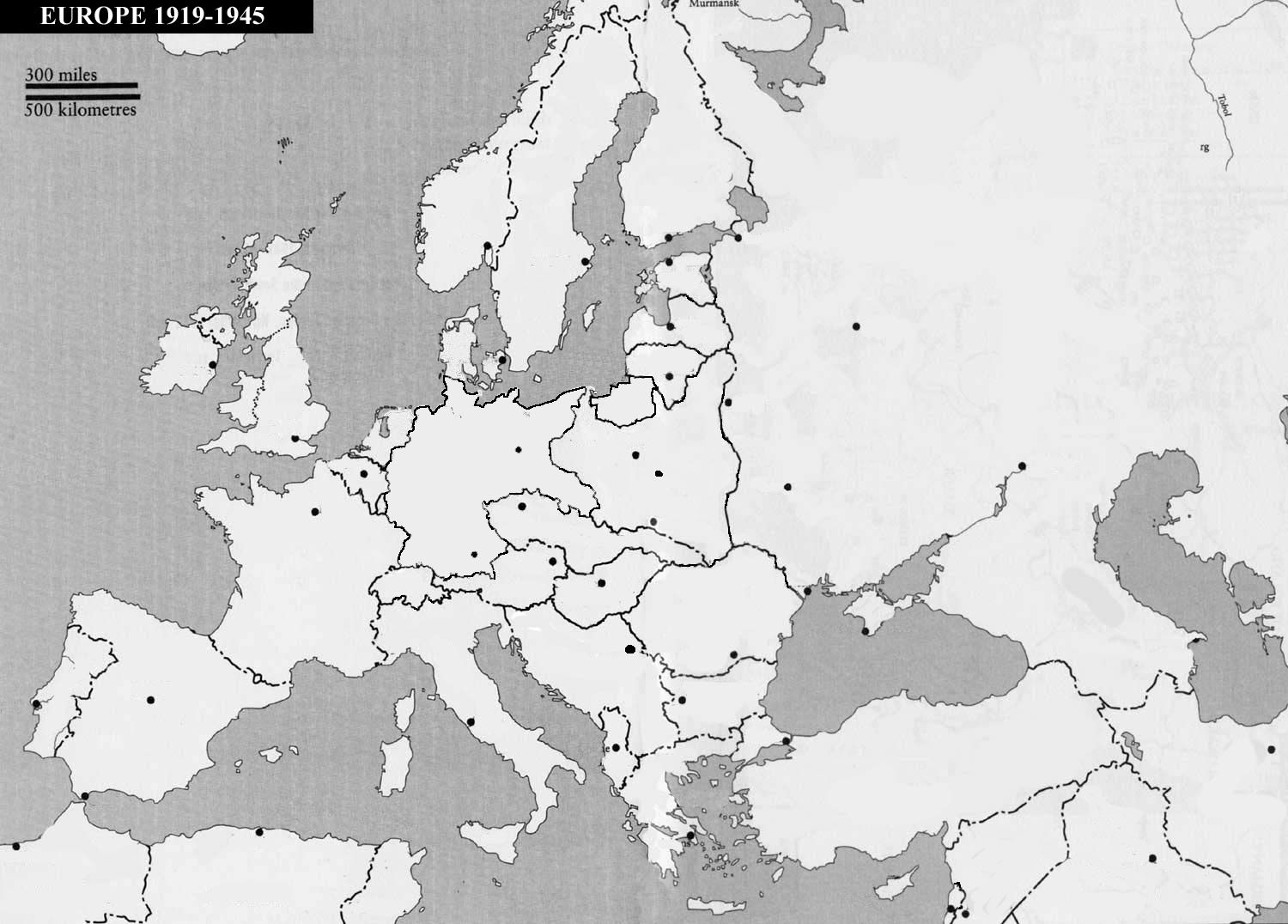 Map Of Europe 1919 Blank.Practice Map